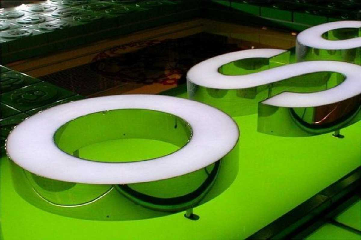 Channel Letters in bright white on green background showing an