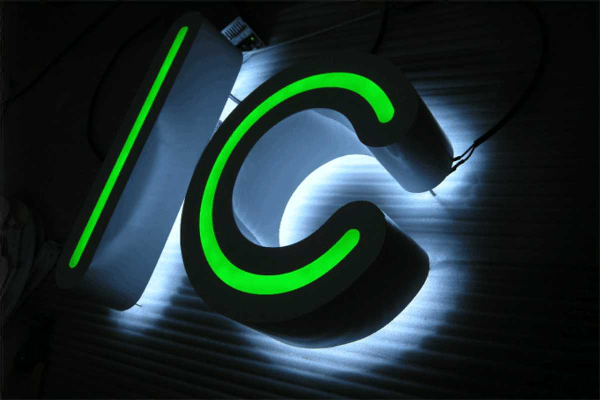 Bright neon green channel letters