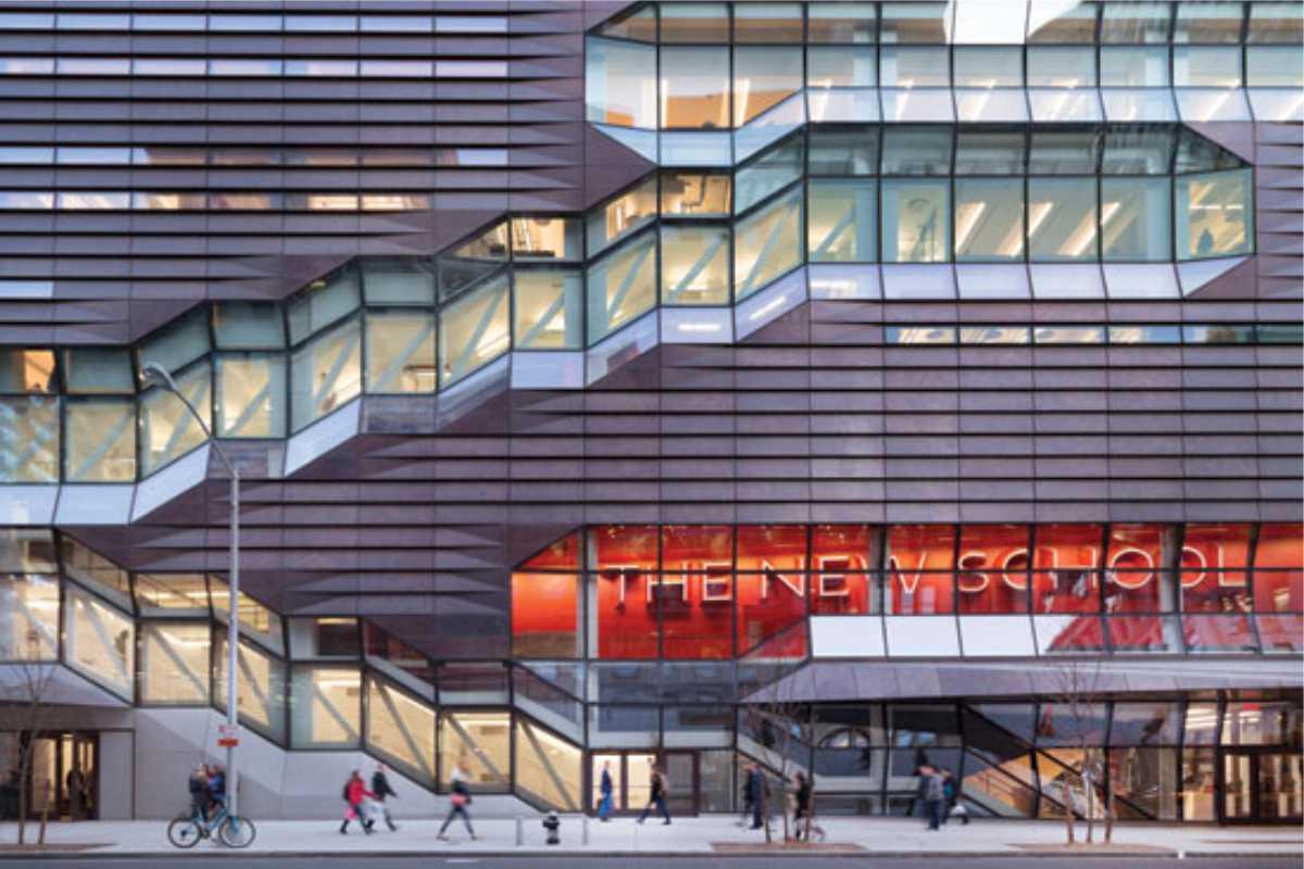 The New School exterior design/ signage