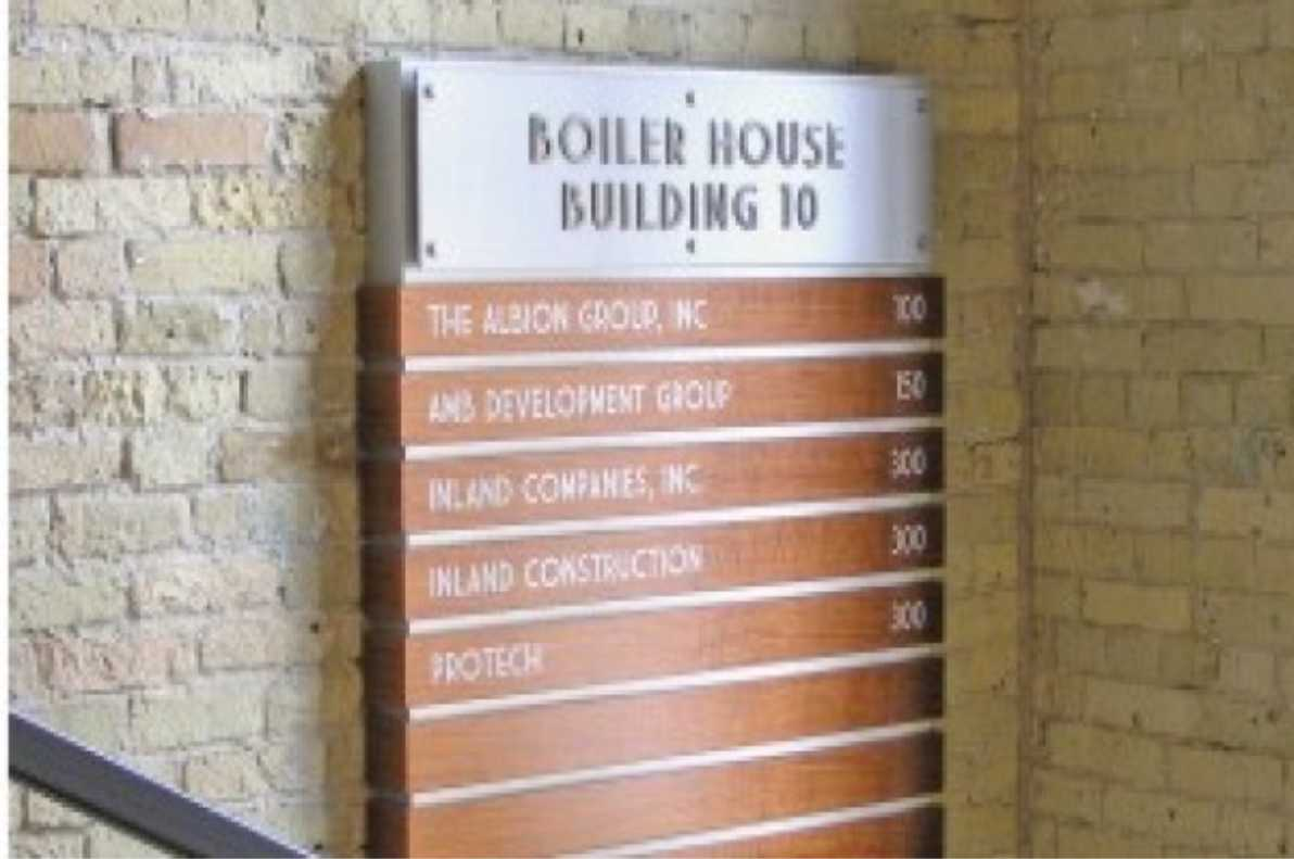 building directory in stairwell