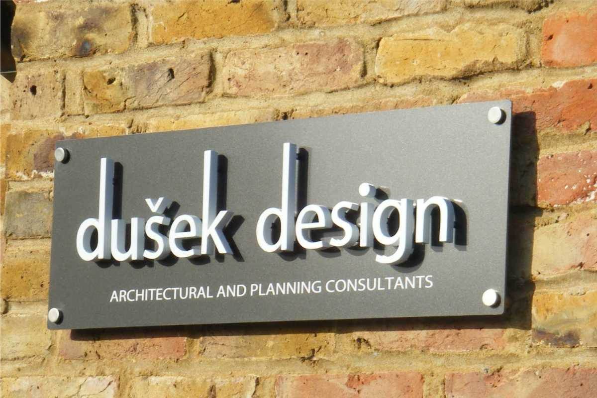 Acrylic office signs example for an architect with custom logo/lettering