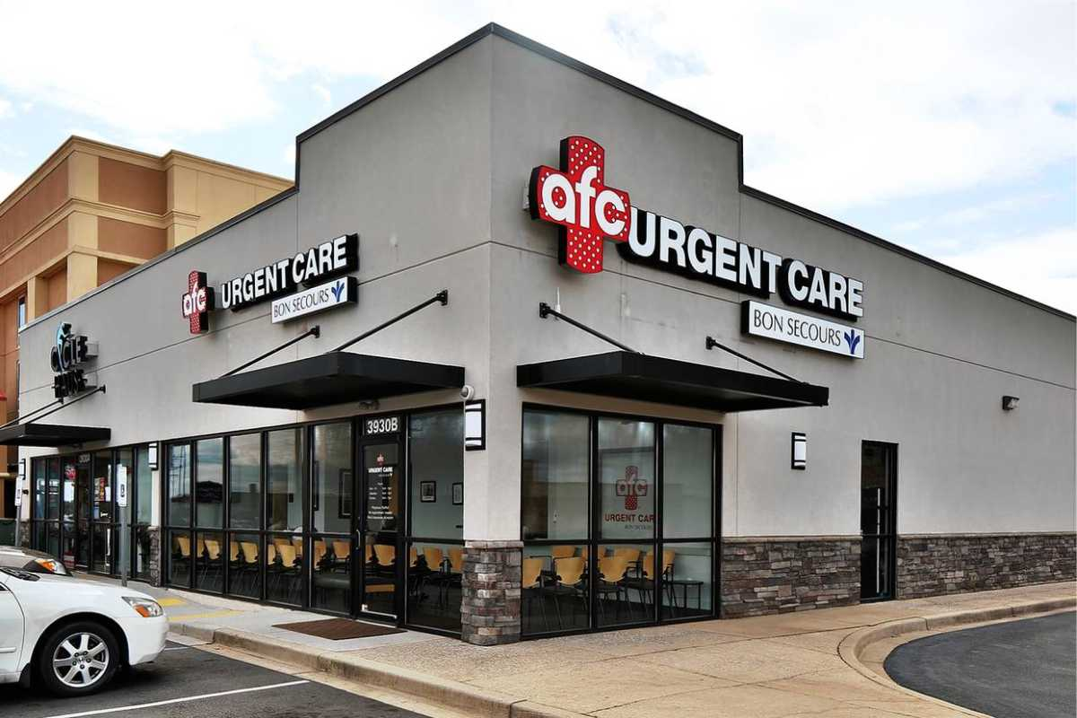 AFC Urgent Care exterior showing logo and sign/ letters