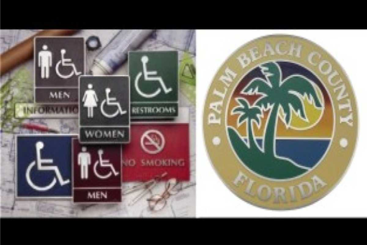 assorted signs for restrooms and palm beach county sign