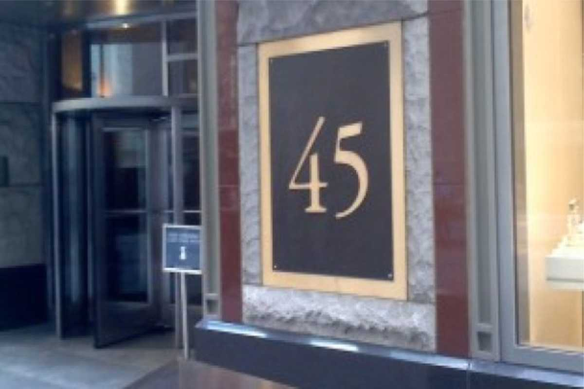 large sign/ plaque with number 45