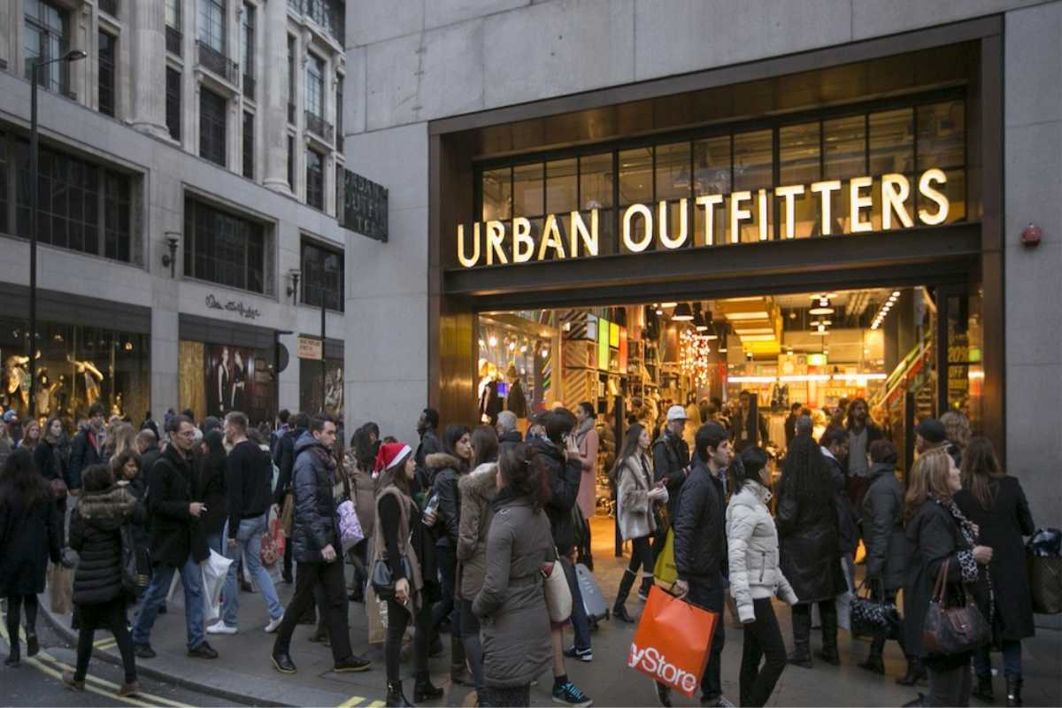 Urban Outfitters Storefront with lit up Channel letters