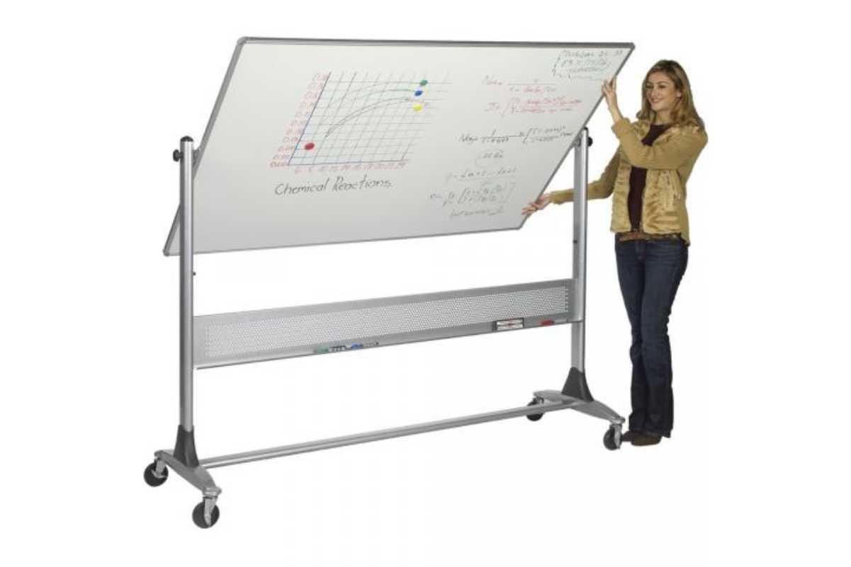 Woman flipping whiteboard