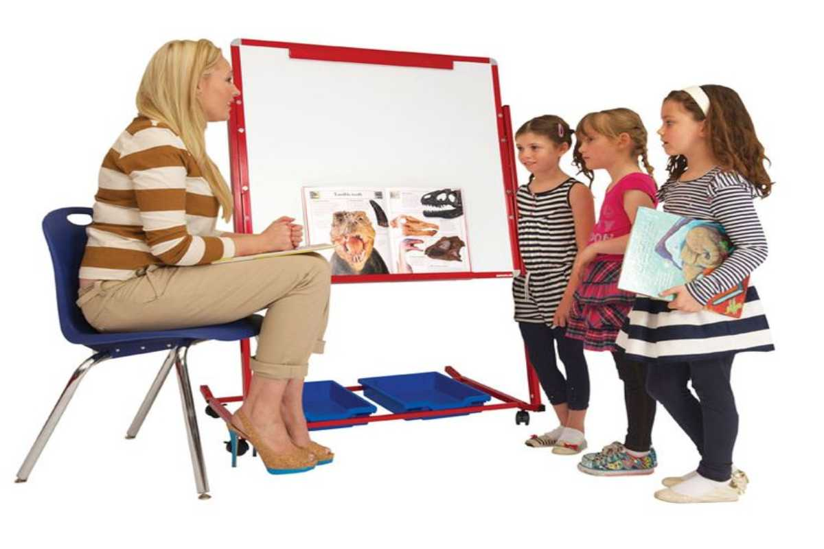 White board and teacher with students