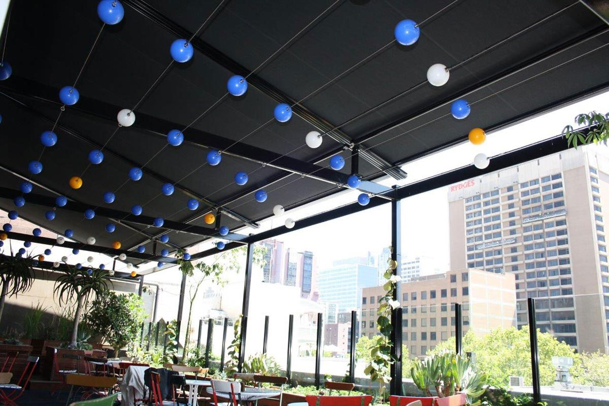 underside of a commercial retractable awning