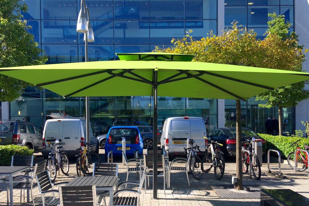 commercial restaurant umbrellas over seating area
