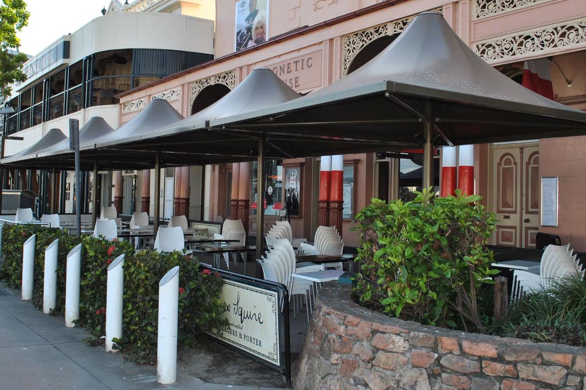 commercial umbrellas outside restaurant