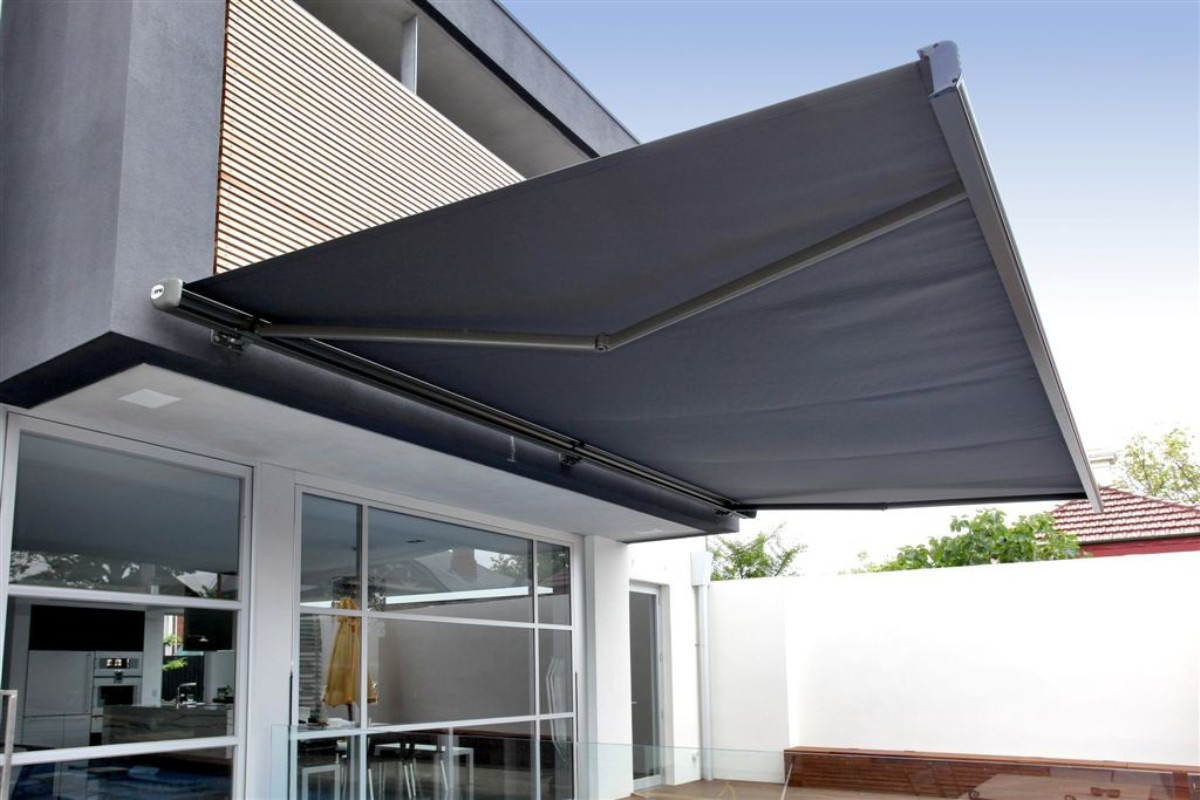 A retractable awning for an outside deck/ patio