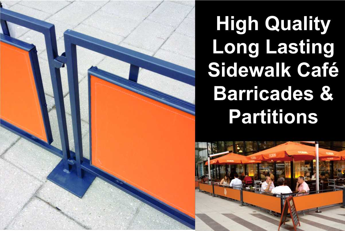 Sidewalk Barricades and Partitions ad with photo and closeup